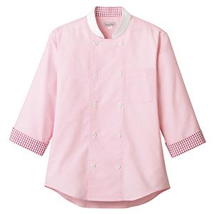 コックシャツ ユニセックス FB4522U−9 ピンク×レッド
