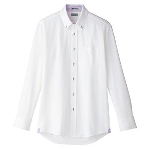 メンズ 吸水速乾 ニット 長袖シャツ FB5026M−19 台衿裏:パープル