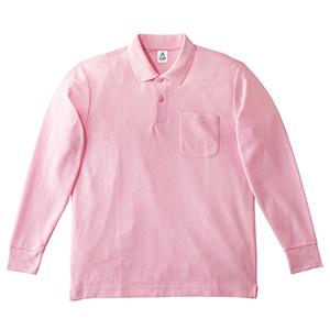 鹿の子ドライ長袖ポロシャツ MS3115−9 ライトピンク