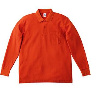 鹿の子ドライ長袖ポロシャツ MS3115−13 オレンジ