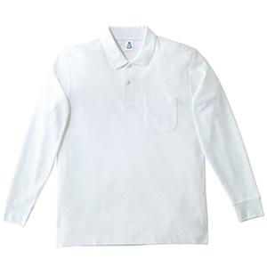 鹿の子ドライ長袖ポロシャツ MS3115−15 ホワイト