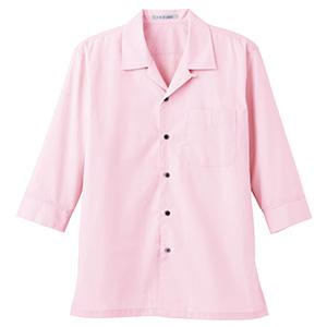ブロードオープンカラー 七分袖シャツ FB4530U−9 ピンク