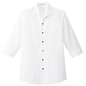 メンズ イタリアンカラー 七分袖シャツ FB5034M−15 ホワイト