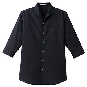 メンズ イタリアンカラー 七分袖シャツ FB5034M−16 ブラック