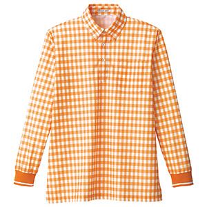 チェックプリントポロシャツ長袖 FB4536U−13 オレンジ