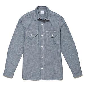 メンズ シャンブレー長袖シャツ LCS46003−7 ブルー