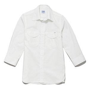 メンズ シャンブレー七分袖シャツ LCS46004−15 ホワイト