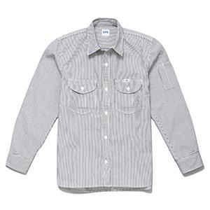 メンズ ワーク長袖シャツ LWS46001−18 ホワイト×ブルー