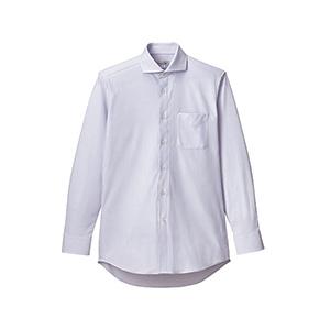 メンズ ワイドカラー長袖ニットシャツ FB5039M−6 サックス