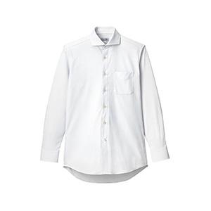 メンズ ワイドカラー長袖ニットシャツ FB5039M−15 ホワイト