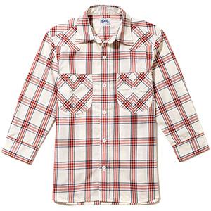 メンズ ウエスタンチェック七分袖シャツ LCS46007−3 レッド