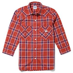 メンズ ウエスタンチェック七分袖シャツ LCS46007−23 レッド×ネイビー