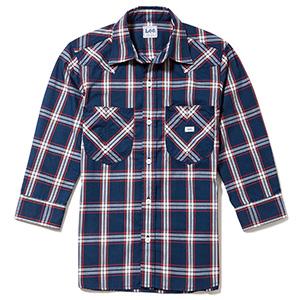 メンズ ウエスタンチェック七分袖シャツ LCS46007−28 ネイビー×ホワイト