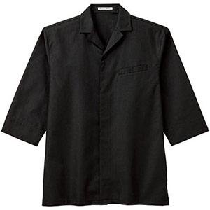 ユニセックス 開襟和シャツ FB4542U−16 ブラック