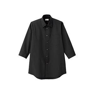 メンズ レギュラーカラー七分袖シャツ FB5042M−16 ブラック
