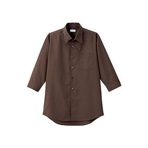 メンズ 開襟七分袖シャツ FB5044M−5 ブラウン