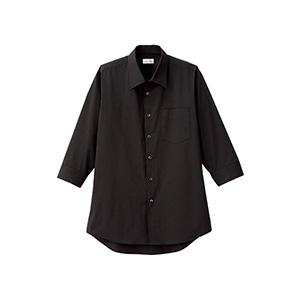 メンズ 開襟七分袖シャツ FB5044M−16 ブラック
