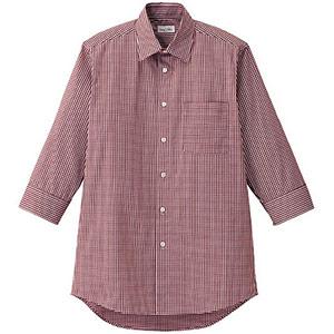 メンズセミワイドカラー七分袖シャツ FB5048M−3 レッド