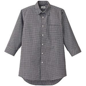 メンズセミワイドカラー七分袖シャツ FB5048M−16 ブラック