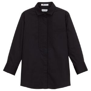 ピンタック ワイドカラー 七分袖 ブラウス FB4002L−16 ブラック