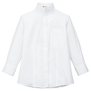 2Wayスタンドカラー七分袖ブラウス FB4003L−15 ホワイト