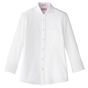 吸汗速乾 ニット 七分袖ブラウス FB4020L−9 台衿裏:ピンク