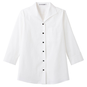 レディス イタリアンカラー 七分袖ブラウス FB4027L−15 ホワイト