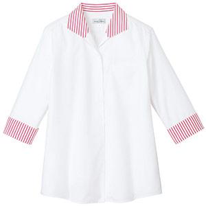 イタリアンカラー七分袖ブラウス FB4034L−3 ホワイト×レッド