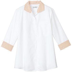 イタリアンカラー七分袖ブラウス FB4034L−13 ホワイト×オレンジ
