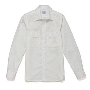 レディース シャンブレー長袖シャツ LCS43003−15 ホワイト