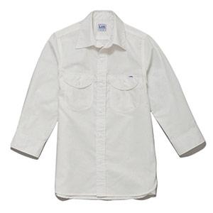 レディース シャンブレー七分袖シャツ LCS43004−15 ホワイト