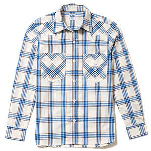 レディース ウエスタンチェック長袖シャツ LCS43006−7 ブルー