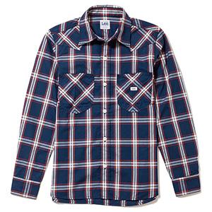 レディース ウエスタンチェック長袖シャツ LCS43006−28 ネイビー×ホワイト