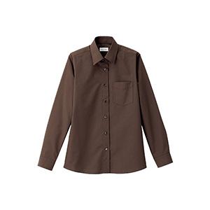 レディス レギュラーカラー長袖シャツ FB4035L−5 ブラウン