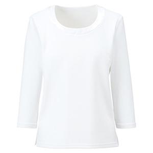 衿ぐり切替え七分袖ニット BCK7102−15 ホワイト