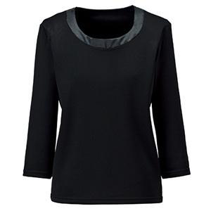 衿ぐり切替え七分袖ニット BCK7102−16 ブラック