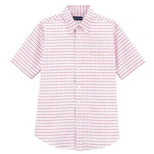 ユニセックス 半袖チェックシャツ FB487U−3 レッドチェック