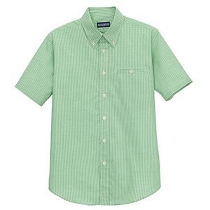 ユニセックス 半袖チェックシャツ FB488U−4 グリーン