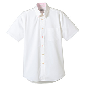 メンズ 半袖シャツ FB5013M−9 ホワイト (台衿裏:ピンク)