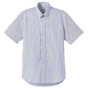 ユニセックス 半袖ストライプシャツ FB4509U−8 ネイビー