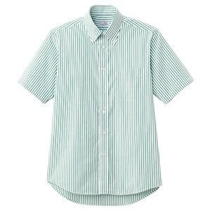 ユニセックス 半袖ストライプシャツ FB4509U−4 グリーン