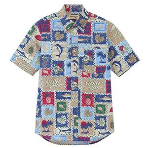 ユニセックス アロハシャツ FB4519U−7 ブルー×ミックス