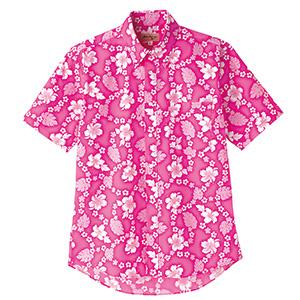 ユニセックス アロハシャツ プチハイビスカス FB4521U−9 ピンク