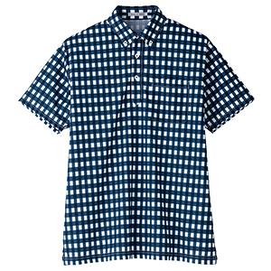 チェックプリント ポロシャツ FB4523U−8 ネイビー (SS〜4L)