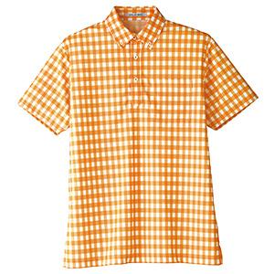 チェックプリント ポロシャツ FB4523U−13 オレンジ (SS〜4L)