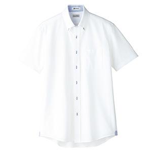 メンズ 吸水速乾 ニット半袖シャツ FB5027M−7 台衿裏:ブルー