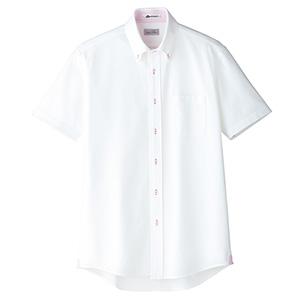 メンズ 吸水速乾 ニット 半袖シャツ FB5027M−9 台衿裏:ピンク