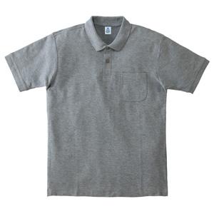 ポケット付鹿の子ドライポロシャツ MS3114−2 杢グレー