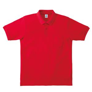 ポケット付鹿の子ドライポロシャツ MS3114−3 レッド