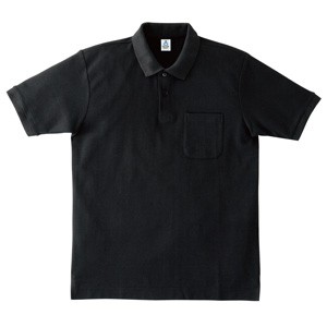 ポケット付鹿の子ドライポロシャツ MS3114−16 ブラック